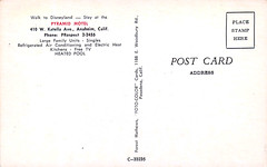 Pyramid Motel postcard, 410 W. Katella Ave, Anaheim California - back (Tom Simpson) Tags: pyramidmotel motel vintage camel disney disneyland vintagedisney vintagedisneyland hotel postcard travel 1960s