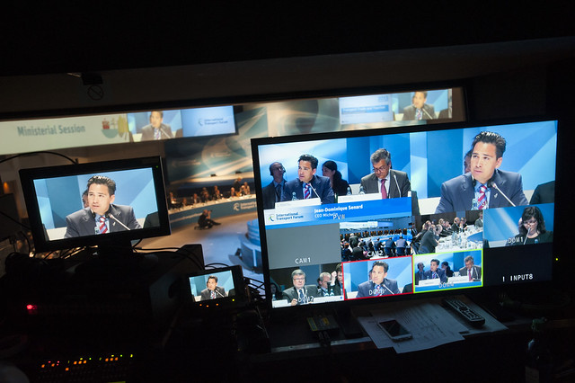 Screens at the webcast control room