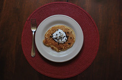 Chocolate Chip Pancakes (lillard_katie) Tags: morning red food pancakes breakfast circle table happy yum sweet good chocolate cream cook indoor porn round simple whipped