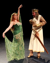 """Lesli Magherita as the Lady of the Lake and Gary Beach as King Arthur in the 2010 Music Circus premiere of the Tony Award-winning Best Musical """"Monty Python's Spamalot"""" at the Wells Fargo Pavilion, July 9-18.  Photo by Charr Crail."""