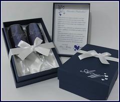 Kit Duplo Azul Marinho com Branco (contato@mondy.com.br) Tags: lembrana casamento taas brinde madrinha pais noivado padrinho noivos personalizados noivinhos brases caixasparapresente
