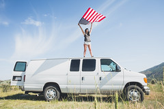 Meg and Carmen Van Diego (megisaweirdo) Tags: blue red portrait sky white water yellow america outside outdoors flag exploring americanflag bluesky patriotic pride idaho adventure explore van patriot wandering wander falg vanlife