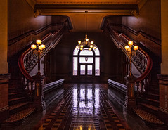 Morning Light Singing Through The North Wing (jackalope22) Tags: architecture capitol state light stairs tones patterns iowa ia
