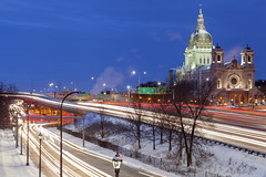 Basilica of St Mary (Sam Wagner Photography) Tags: basilica stmary minneapolis downtown highway intersection traffic long exposure winter cold car light trails midwest minnesota twilight