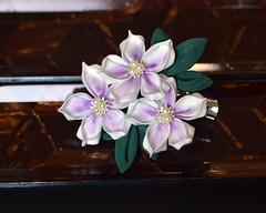 Azalea Light Purple Silk Flowers. Handmade Clip. (Bright Wish Kanzashi) Tags: kanzashi tsumamizaiku hanakanzashi handmade silk textile art japanesetechnique light purple azaleas