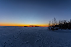 Icy lake (ArtDvU) Tags: frosty evening icy lake snow lakescape hirvijärvi southern ostrobothnia finland sunset afternoon footprints canon eos 7d mkii wideangle sigma 1020 winter landscape light