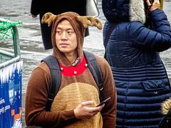 Looks Like Reindeer (garryknight) Tags: christmas cybershot dschx60v lightroom london ononephoto10 sony trafalgarsquare costume onesie reindeer creativecommons