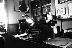 Remington Noiseless (KevinIrvineChi) Tags: remington noiseless typewriter record player blackwhite blackandwhite bw black white room office indoors insi inside vintage desk sunlight sony dscrx100 northerncalifornia sonoma glen ellen winecountry wine fan bookshelf books library papers table lamp light keys 6 66 company logo sfist