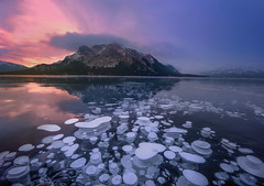 Silent Submersion ( Explored ) (Sapna Reddy Photography) Tags: twilight landscape nature mountain icebubbles bubbles abrahamlake ice frozen alberta winter canada