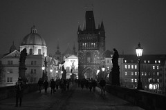 Charles Bridge / Karlův Most (JirkaCaletka) Tags: cyberlink evening brick caletka jirka charles bridge black white bw prague czech photography nikon d3300 photodirector lamp light statues people tourist building seebw view clothes jacket hat windows praha old history night roof tower outdoor bnw noiretblanc bew bn biancoenero fotka fotografie fotograf prag praga okna skancheli