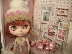 Is it Valentine's Day yet?? (simplychictiques) Tags: meimeicustomblythe ooakcustomizedblythedoll fbl blythe props blythedecor liccabody freckles fringecut redhairblythedoll holiday hearts blytheinhats shabbychic pink toys noelle