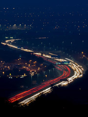 Portsmouth rush hour traffic (fstop186) Tags: portsmouth rushhour traffic night lighttrails movement fog winter headlights rearlights portsmouthatnight motorway city mist lights freezing longexposure