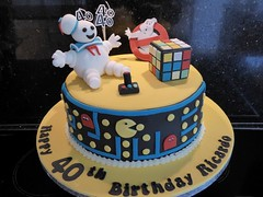 80s Birthday cake (Victorious_Sponge) Tags: birthday man cake 40th ghost pacman 80s cube rubiks pac busters
