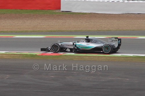 Nico Rosberg in Free Practice 2 for the 2015 British Grand Prix at Silverstone