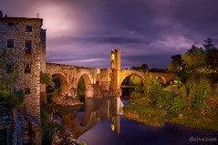 Puente de Besalu, provincia de Girona (dleiva) Tags: architecture dleiva domingo leiva spain photography night river horizontal reflection outdoors color image no people travel destinations connection illuminated besalu arch bridge roman gerona province