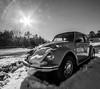 Thawing Out A Bug (John Kocijanski) Tags: car auto automobile bug beetle vw volkswagen blackandwhite sunflare vehicle canon1022mmlens