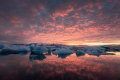 Fire And Ice (Luca Libralato) Tags: iceland islanda jokulsarlon glacierlagoon iceberg iceberglagoon glacier ghiacciaio laguna snow ice sunset lucalibralato libralato canoneos6d canon1635 ndfilter gndfilterhard haida nisi