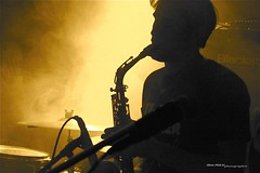 Saxophone (OlivierPig) Tags: light orange man music passion lover frog smoke saxophone live stage concert shininwoods clément fun night evening pub sax france french awsome jazz jazzy hall blue note