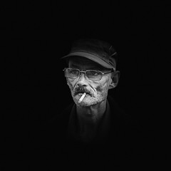 ^,, (dagomir.oniwenko1) Tags: men male man mono smoking street style sigma canon candid canoneos60d face portrait person portret people portraits ritratto retrato eyeglasses wrinkles blackandwhite bw blackbackground nottingham england uk gb