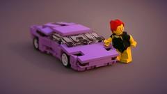 Diablo with fig (ron_dayes) Tags: lamborghini diablo lego minifigure modular scale 1 42 town city race supercar sportscar