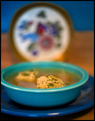 Matzah Ball Soup   (Super-Takumar 50mm f/1.4, e) (Ebanator) Tags: sonya850 asahipentaxsupertakumar50mmf14 supertakumar50mmf14 50mmf14 legacyglass legacylens m42 chickensoup matzahballs matzahballsoup soup matzohballs matzoballsoup sometimessavory food fiestaware