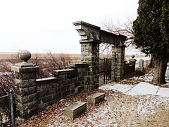 in grandma's honor...(HFF) (BillsExplorations) Tags: fence fencefriday gate cemetery graveyard rural country revolutionarywar historical 1776 georgewashington marker gravestone grandma illinois