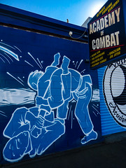 Academy of Combat (Steve Taylor (Photography)) Tags: academyofcombat ultimate fighting system weight gym thaiboxing mixedmartialarts weaponrycombat brazilian jiujitsui combat academy art design graffiti streetart mural black blue contrast yellow white newzealand nz southisland canterbury christchurch perspective sign judo