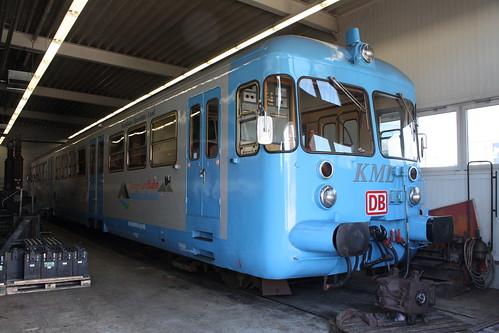 KML: VT 405 abgestellt in der Werkstatt in Klostermansfeld