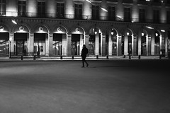 By crossing the square (pascalcolin1) Tags: paris place square nuit night lumière light homme man photoderue streetview urbanarte noiretblanc blackandwhite photopascalcolin
