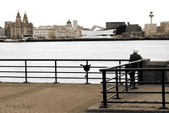 Memories (innpictime ζ♠♠ρﭐḉ†ﭐᶬ₹ Ȝ͏۞°ʖ) Tags: 533962803009469 birkenhead wirral woodside wirralcirculartrail mersey riverside merseyside river waterfront liverpool threegraces museumofliverpool skyline architecture sepia view pierhead