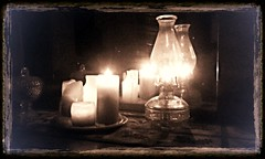 Reflecting Candles & Oil Lamp In Sepia (WillynWV) Tags: candles flame wax phoneography camphone art oillamp reflection facebook instagram twitter social socialmedia flickriver flickr serene sepia