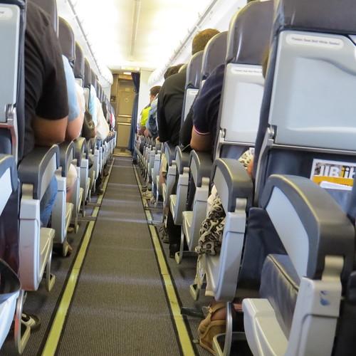 Inside airplane leaving Chiang Mai, Thailand