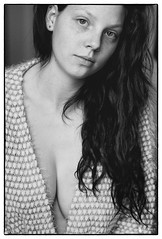 Michelle #1 (stuep jr. 2) Tags: blackandwhite bw sexy girl beautiful beauty blackwhite young naturallight cleavage nikkor85mm14ais softnude silverefexpro2