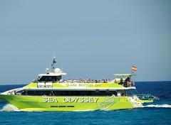 Glass Bottom Cat (Jean Bloor) Tags: sea glass boat bottom passengers catamaran odyssey cala majorca millor