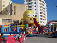 Child's playground (Jean Bloor) Tags: playground childrens cala millor bouncycastlehomersimpsonchildrensattractions