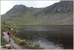 Stickle-tarn. (stu.bloggs..Dont do Sundays) Tags: summer terrain mountains water june landscape scenery rocks path lakedistrict scenic hills fells views tarn lakeland stickletarn harrisonstickle rockyoutcrops mrsbloggs paveyarch
