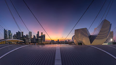 Emergent (bing dun (nitewalk)) Tags: sunset panorama sun night marina landscape evening bay singapore cityscape outdoor cbd rays sands epic mbs artsciencemuseum