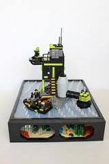 MANTIS HQ (jsnyder002) Tags: sea water rock mantis boat model waves underwater lego interior craft creation aquatic hq build creature base hover moc