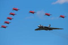 Red Arrows escort Vulcan (stuartfharling) Tags: canon vulcan redarrows riat