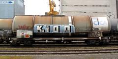 K100 auf CICA - Zisternenwagen (hans.hirsch) Tags: train wagon graffiti eisenbahn basel cica zas wagen k100 kleinhningen wascosa