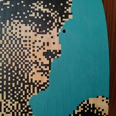 Cunning vs strenght  Pixel on skatedeck. 6 years ago (.krayon) Tags: wood david detail art artwork handmade optical spray skate pixel pixelart skatedeck sk8 strenght cunning uniposca krayon