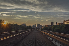 Into the City (Joey Wharton) Tags: city sunset skyline train buildings outdoors virginia tracks richmond va rva