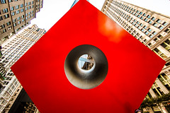 That Hole in His Heart (Thomas Hawk) Tags: brownbrothersharriman isamunoguchi manhattan nyc newyork newyorkcity thecube usa unitedstates unitedstatesofamerica architecture sculpture redcube bbh bank banking building fav10 fav25 fav50