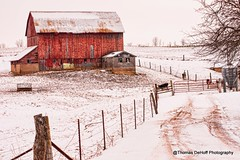 Big Red Barn in a white field (Thomas DeHoff) Tags: red barn snow wisconsin rural country sony a700