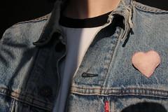 Love Levis (Josiedurney) Tags: love heart valentines valentine flowers lilies pink felt badge handcraft handmade beads palepink babypink blue denim denimjacket jacket fashion accessories levis lovelevis loveyourlevis girl smile sun winter clear light daylight cute sweet heartshape