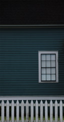 the house behind the fence (dotintime) Tags: house teal cool color wood frame structure siding clapboard window pane rectangle fence white picket dotintime meganlane
