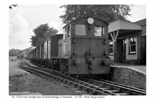 Tenterden. 11223 & freight train ready to leave. 15.7.60 (1)