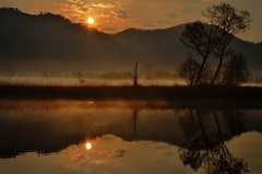 Tales from the Earth (Didacus67 (Off for a while)) Tags: morning trees italy mist reflection nature water fog alberi clouds sunrise river landscape dawn haze nikon italia nuvole peace tales alba fiume hills offer gift silence harmony serenity nebbia thegimp acqua vapour paesaggio colline wetland adda mattino bruma storie quantumphysics manandnature vapore telephotolandscape brivio harmonywithnature detaillandscape airuno d5100 luminositymasks passionshots luomoelanatura universalrelations universalwavefunction