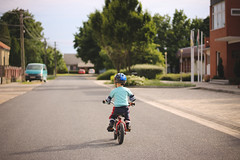 I want to ride my bicycle (Martin Papp) Tags: street boy summer hot nature bicycle mom photography photo dangerous focus warm ride badass hell mother follow riding damn fav 3yearsold hellboy hellman continuous celsius