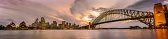 Sydney Panorama (Poppy FD) Tags: city bridge sunset sky cloud water landscape cityscape harbour sydney